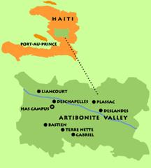 Map of Haiti showing the Artibonite Valley and HAS Campus