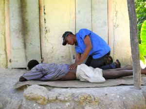 Health Care Worker Assisting a Stroke Patient in His Home