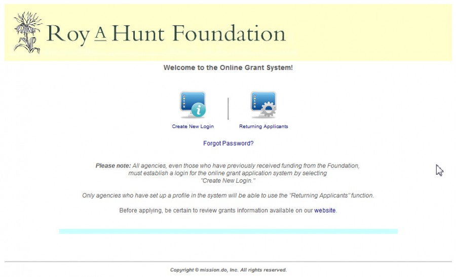 Picture of the entry screen for the grant application software